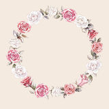 Hand painted watercolor wreath mockup clipart template of roses. Beautiful hand painted watercolor wreath mockup clipart template of roses bouquets and buds for Stock Image