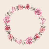 Hand painted watercolor wreath mockup clipart template of roses. Beautiful hand painted watercolor wreath mockup clipart template of roses bouquets and buds for Royalty Free Stock Photo