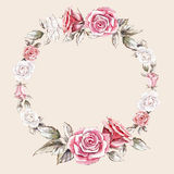 Hand painted watercolor wreath mockup clipart template of roses. Beautiful hand painted watercolor wreath mockup clipart template of roses bouquets and buds for Stock Photos