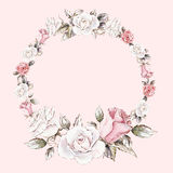 Hand painted watercolor wreath mockup clipart template of roses. Beautiful hand painted watercolor wreath mockup clipart template of roses bouquets and buds for Stock Photo