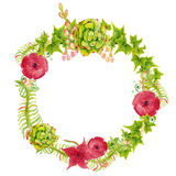 Hand painted watercolor wreath. Stock Photos