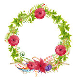 Hand painted watercolor wreath. Royalty Free Stock Photo