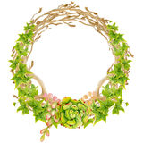 Hand painted watercolor wreath. Stock Photography