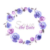 Hand painted wedding card save the date with watercolor flowers. Blue roses stock illustration