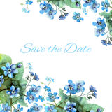 Hand painted wedding card save the date with watercolor flowers. Forget me nots stock illustration