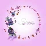Hand painted wedding card save the date with watercolor flowers. Pansies royalty free illustration