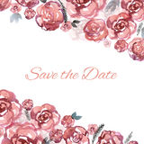 Hand painted wedding card save the date with watercolor flowers pink roses. N royalty free illustration