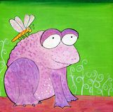 Hand Painted Weird Purple Frog and Dragonfly Illustration. Maybe for garden shop children wear use Stock Illustration