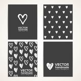 Hand-painted white hearts on black banner set 1 Royalty Free Stock Images