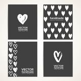 Hand-painted white hearts on black banner set Stock Photo