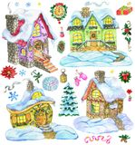 Christmas and new year design set with cute country houses and holiday decorations stock photos