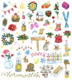 Design set with Christmas and New Year holiday icons and objects royalty free stock photos
