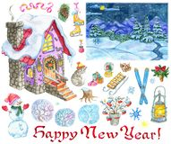 New Year design set with country house, snowman, landscape, holiday objects stock images
