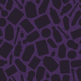 Hand painted witchcraft silhouettes seamless pattern on the purple background. Hand painted witchcraft silhouettes seamless pattern on the purple starry Stock Photos