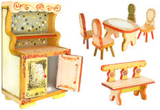 Hand Painted Wood Kitchen Furniture. For dolls on white background Royalty Free Stock Photos
