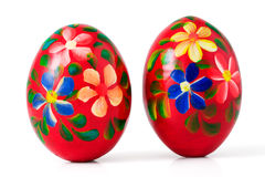 Hand painted wooden Easter eggs, clipping path Royalty Free Stock Photos