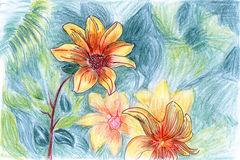 Hand-painted yellow flower Royalty Free Stock Images