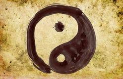 Hand painted yin and yang symbol. On background grunge Royalty Free Stock Image