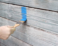 Hand painting blue wooden wall Royalty Free Stock Photography
