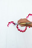 Hand painting flowers on white fabric Stock Photos