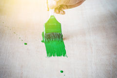 Hand painting green color Stock Photo