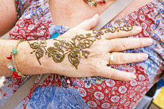 Hand painting on the market in Marrakech Morocco Stock Image