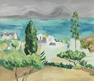Hand painting of mediterranean sea landscape Stock Image
