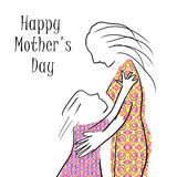 Hand painting mother silhouette and her child. Card of Happy Mothers Day Stock Image