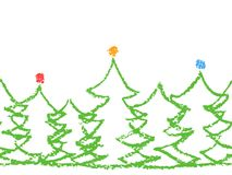 Crayon child`s drawing merry christmas tree pattern on white. Stock Image