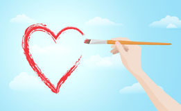 Hand painting red heart on the sky Royalty Free Stock Photos