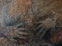 Hand painting stencil in the style of prehistoric cave art Stock Photos