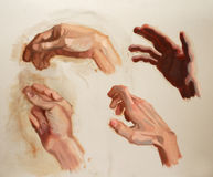 Hand painting study. Different hand pose study painting Stock Photo