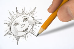 Hand painting sun royalty free stock images