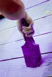 Hand painting violet wooden wall Royalty Free Stock Image
