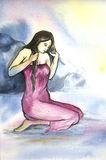 Hand Painting of a women in Canvas Royalty Free Stock Image