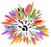 Hand Paints Splash. Paints splash hand mark symbol, vector illustration, horizontal, isolated Stock Photo