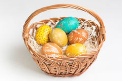 Hand paited easter eggs Stock Photo