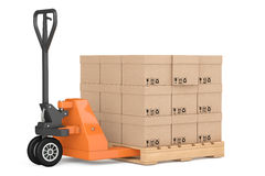 Hand Pallet Truck with Boxes. 3d Rendering royalty free illustration