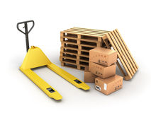 Hand pallet truck with boxes and pallets lying near Stock Image