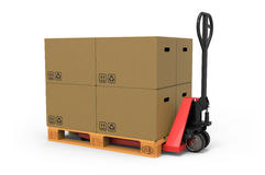 Hand pallet truck. With Cardboard Boxes on white background 3D rendering Royalty Free Stock Images