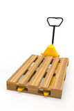 Hand pallet truck with pallet Royalty Free Stock Image
