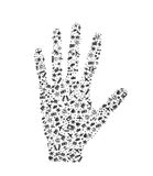 Hand palm composed from travel elements Stock Image