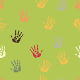 Hand palm ink splash print seamless background Stock Image