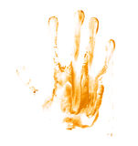 Hand palm oil paint print Stock Images