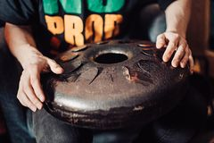 Hand pan, Vadjraghanta, metal tongue drum, modern musical instrument. Royalty Free Stock Image