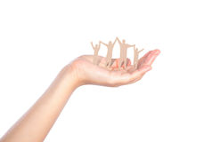 Hand with paper cut of family Royalty Free Stock Photography