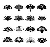 Hand paper fan vector icons. Chinese or japanese beautiful fans isolated on white background Royalty Free Stock Images