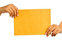 hand paper kvinnayellow arkivbilder