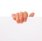 Hand papper som annonserar royaltyfri fotografi