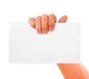 Hand papper som annonserar arkivfoton